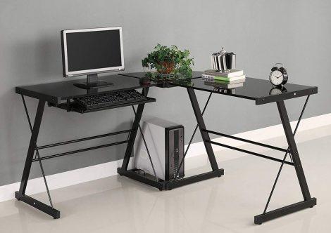 Walker Edison Soreno Glass Computer Desks